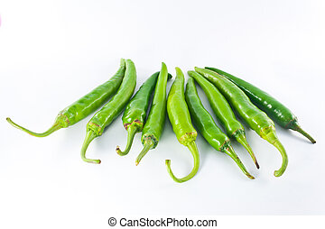 Red and green pepper on a white background