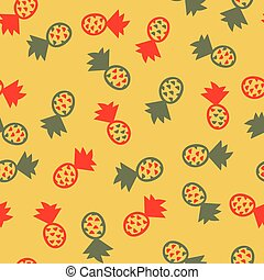 Red and green pineapples seamless vector pattern. Tropical fruits themed surface print design.