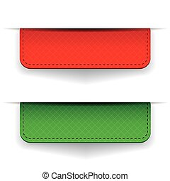 Red and green ribbon set vector