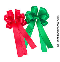Red and green ribbons isolated on white background.