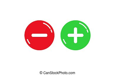 Red and green round buttons with plus and minus signs