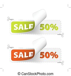 Red and green sale coupons (50% discount)
