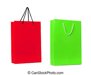 red and green shopping bag isolated