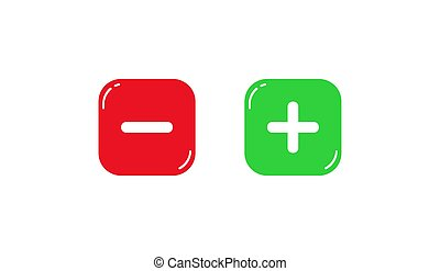 Red and green square buttons with plus and minus signs