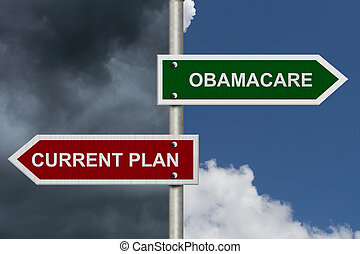 Red and green street signs with blue and stormy sky with words Current Plan and Obamacare, Current Plan versus Obamacare