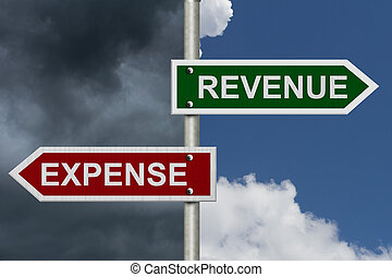 Red and green street signs with blue and stormy sky with words Revenue and Expense, Revenue versus Expense