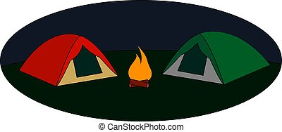 Red and green tent, illustration, vector on white background.