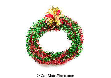 Red and green wreath with christmas bells.