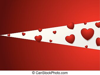 Red and grey background with hearts