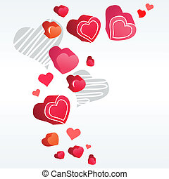 Red and grey contour hearts on light grey background