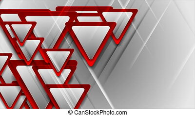 Red and grey glossy triangles abstract geometric motion background. Seamless looping. Video animation Ultra HD 4K 3840x2160