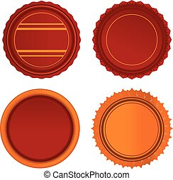 red and orange badge set vector tags