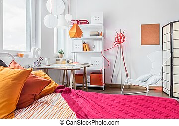 Red and orange bedroom