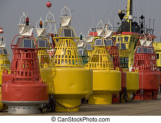 bouys - red and orange bouys in the harbour of rotterdam