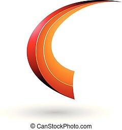 Red and Orange Dynamic Flying Letter C Vector Illustration