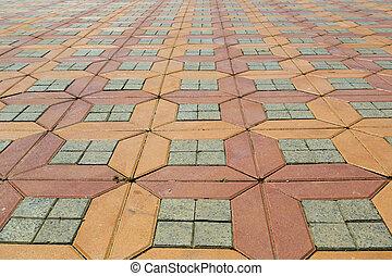 paved ground - red and orange paved ground