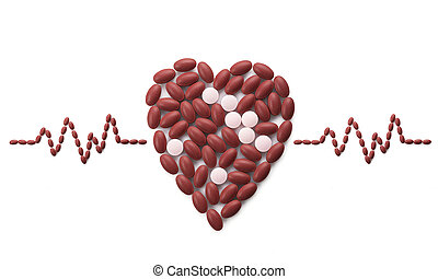 Red and pink colour pills group in heart shape