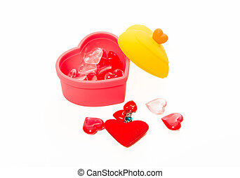 Red and pink crystal heart shape