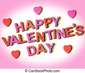 Red And Pink Letters Spelling Happy Valentines Day With Hearts As Symbol for Celebration And Best Wishes