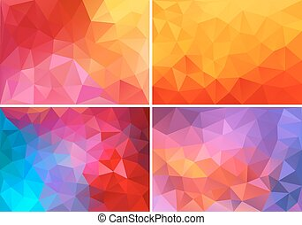 red and pink low poly backgrounds, - abstract red, orange, ...