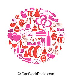 red and pink simple wedding icons in circle eps10
