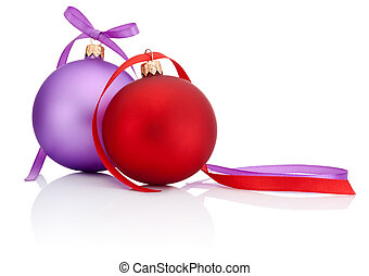 Red and Purple Christmas Ball with ribbon bow Isolated on white background