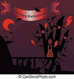 Red and purple halloween castle with a text banner
