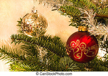 Red and silver balls in christmas tree