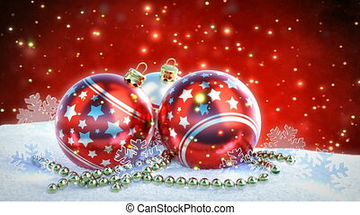 red and silver christmas balls on snow with glitter bokeh background. Seamless loop. 3D render