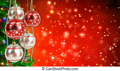 red and silver christmas balls with glitter bokeh...