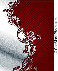 Red and silver elegant floral background