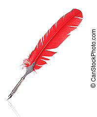 Red and silver quill isolated on white