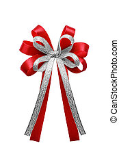 Red and silver ribbon bow isolated on white background.