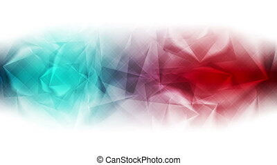 Red and turquoise glossy polygonal video animation - Red and...