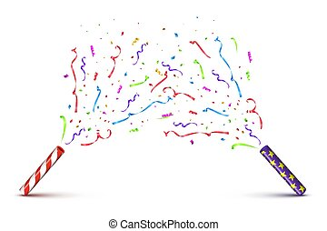 Red and violet tubes with exploding serpentine isolated on white background. Vector holiday background.