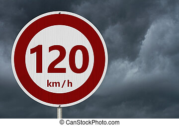 Red and white 120 km speed limit sign