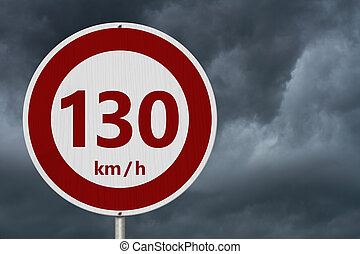 Red and white 130 km speed limit sign