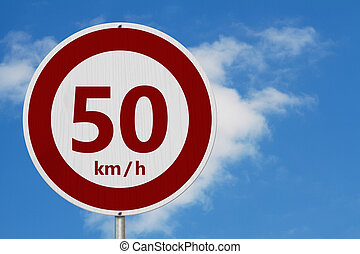 Red and white 50 km speed limit sign