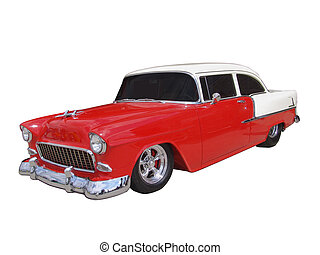 Red and White 50's Classic on white background w clipping path