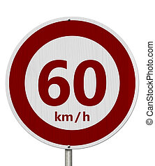 Red and white 60 km speed limit sign