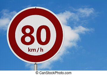 Red and white 80 km speed limit sign