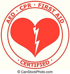 Red and white AED CPR First Aid Certified Sticker vector - ...