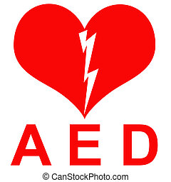 Red and white AED Sticker to indicate that there is a ...
