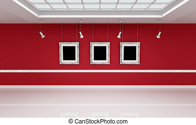 red and white art gallery - Modern art gallery with empty...