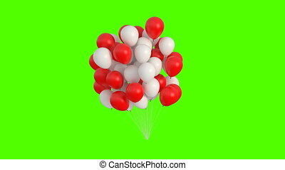 Red and White Balloons Swaying in the Wind on a Green Background. 3d Animation. Ultra HD 4K 3840x2160