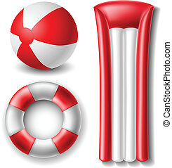 Beach ball and float set - Red and white Beach ball and...