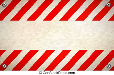 Red and white blank warning sign template with metal screws in corners