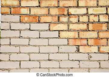 Red and white brick wall.