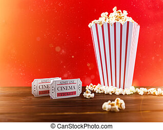 Popcorn With Two Red Movie Tickets