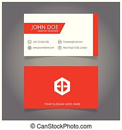 red and white business card